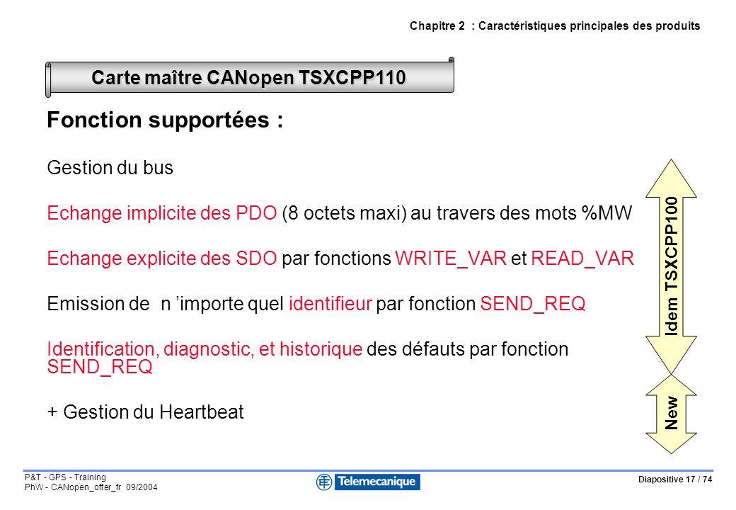 Diapositive 17 / 74 P&T - GPS - Training PhW - CANopen_offer_fr 09/2004 Chapitre 2 : Caractéristiques principales des produits Carte maître CANopen TS