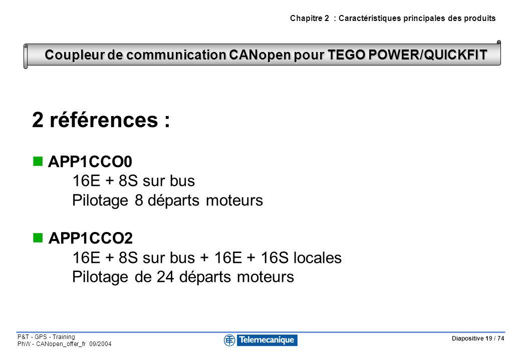 Diapositive 19 / 74 P&T - GPS - Training PhW - CANopen_offer_fr 09/2004 Coupleur de communication CANopen pour TEGO POWER/QUICKFIT Chapitre 2 : Caract