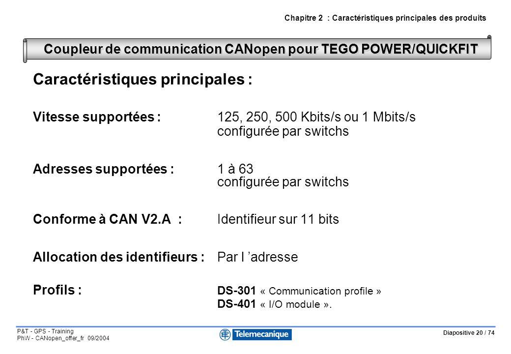 Diapositive 20 / 74 P&T - GPS - Training PhW - CANopen_offer_fr 09/2004 Caractéristiques principales : Vitesse supportées :125, 250, 500 Kbits/s ou 1