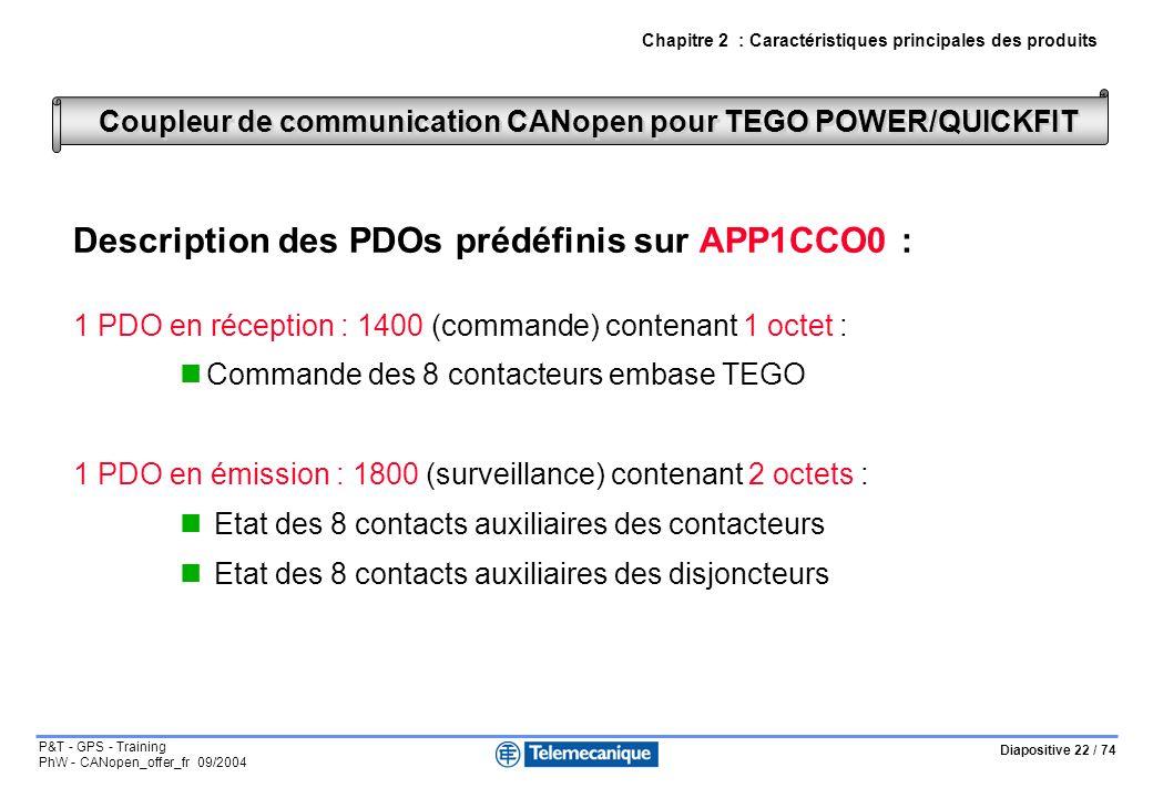 Diapositive 22 / 74 P&T - GPS - Training PhW - CANopen_offer_fr 09/2004 Description des PDOs prédéfinis sur APP1CCO0 : 1 PDO en réception : 1400 (commande) contenant 1 octet : Commande des 8 contacteurs embase TEGO 1 PDO en émission : 1800 (surveillance) contenant 2 octets : Etat des 8 contacts auxiliaires des contacteurs Etat des 8 contacts auxiliaires des disjoncteurs Coupleur de communication CANopen pour TEGO POWER/QUICKFIT Chapitre 2 : Caractéristiques principales des produits