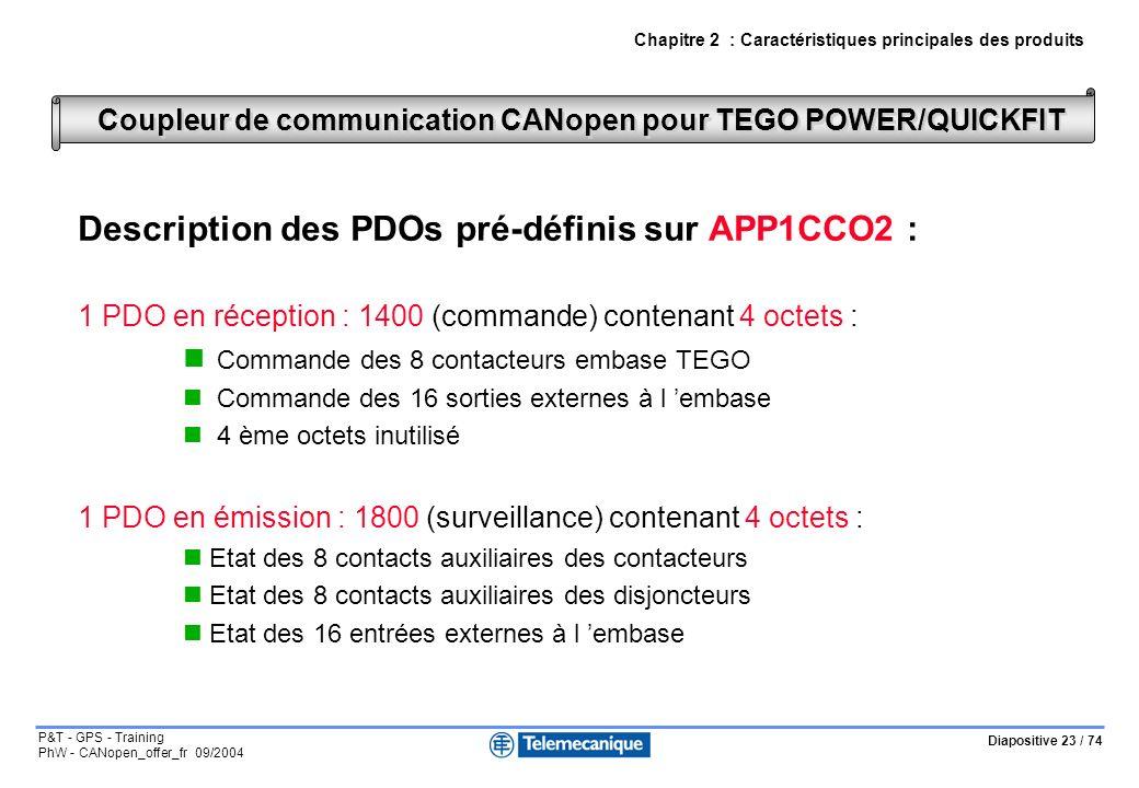Diapositive 23 / 74 P&T - GPS - Training PhW - CANopen_offer_fr 09/2004 Description des PDOs pré-définis sur APP1CCO2 : 1 PDO en réception : 1400 (commande) contenant 4 octets : Commande des 8 contacteurs embase TEGO Commande des 16 sorties externes à l embase 4 ème octets inutilisé 1 PDO en émission : 1800 (surveillance) contenant 4 octets : Etat des 8 contacts auxiliaires des contacteurs Etat des 8 contacts auxiliaires des disjoncteurs Etat des 16 entrées externes à l embase Coupleur de communication CANopen pour TEGO POWER/QUICKFIT Chapitre 2 : Caractéristiques principales des produits