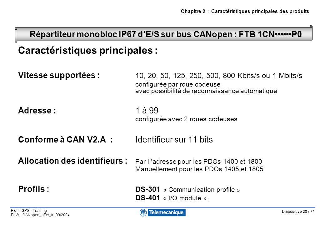 Diapositive 28 / 74 P&T - GPS - Training PhW - CANopen_offer_fr 09/2004 Caractéristiques principales : Vitesse supportées : 10, 20, 50, 125, 250, 500, 800 Kbits/s ou 1 Mbits/s configurée par roue codeuse avec possibilité de reconnaissance automatique Adresse : 1 à 99 configurée avec 2 roues codeuses Conforme à CAN V2.A :Identifieur sur 11 bits Allocation des identifieurs : Par l adresse pour les PDOs 1400 et 1800 Manuellement pour les PDOs 1405 et 1805 Profils : DS-301 « Communication profile » DS-401 « I/O module ».