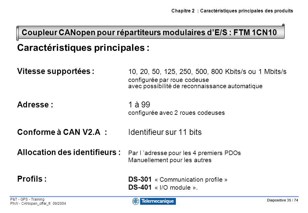 Diapositive 35 / 74 P&T - GPS - Training PhW - CANopen_offer_fr 09/2004 Chapitre 2 : Caractéristiques principales des produits Coupleur CANopen pour répartiteurs modulaires dE/S : FTM 1CN10 Caractéristiques principales : Vitesse supportées : 10, 20, 50, 125, 250, 500, 800 Kbits/s ou 1 Mbits/s configurée par roue codeuse avec possibilité de reconnaissance automatique Adresse : 1 à 99 configurée avec 2 roues codeuses Conforme à CAN V2.A :Identifieur sur 11 bits Allocation des identifieurs : Par l adresse pour les 4 premiers PDOs Manuellement pour les autres Profils : DS-301 « Communication profile » DS-401 « I/O module ».