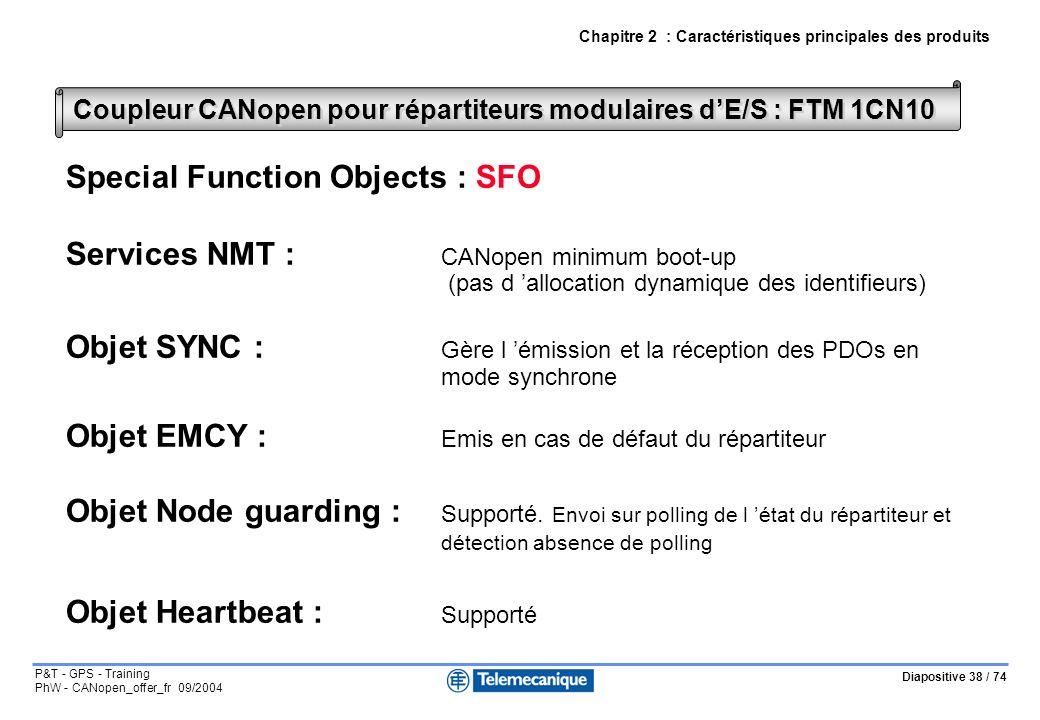 Diapositive 38 / 74 P&T - GPS - Training PhW - CANopen_offer_fr 09/2004 Chapitre 2 : Caractéristiques principales des produits Coupleur CANopen pour répartiteurs modulaires dE/S : FTM 1CN10 Special Function Objects : SFO Services NMT : CANopen minimum boot-up (pas d allocation dynamique des identifieurs) Objet SYNC : Gère l émission et la réception des PDOs en mode synchrone Objet EMCY : Emis en cas de défaut du répartiteur Objet Node guarding : Supporté.