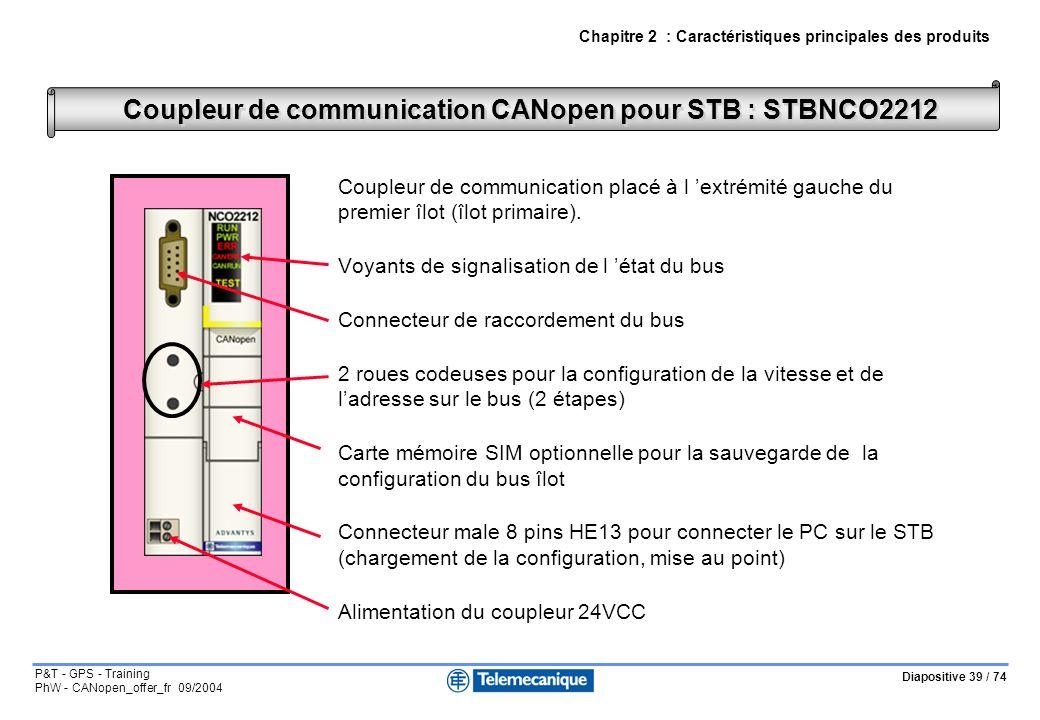 Diapositive 39 / 74 P&T - GPS - Training PhW - CANopen_offer_fr 09/2004 Coupleur de communication placé à l extrémité gauche du premier îlot (îlot pri