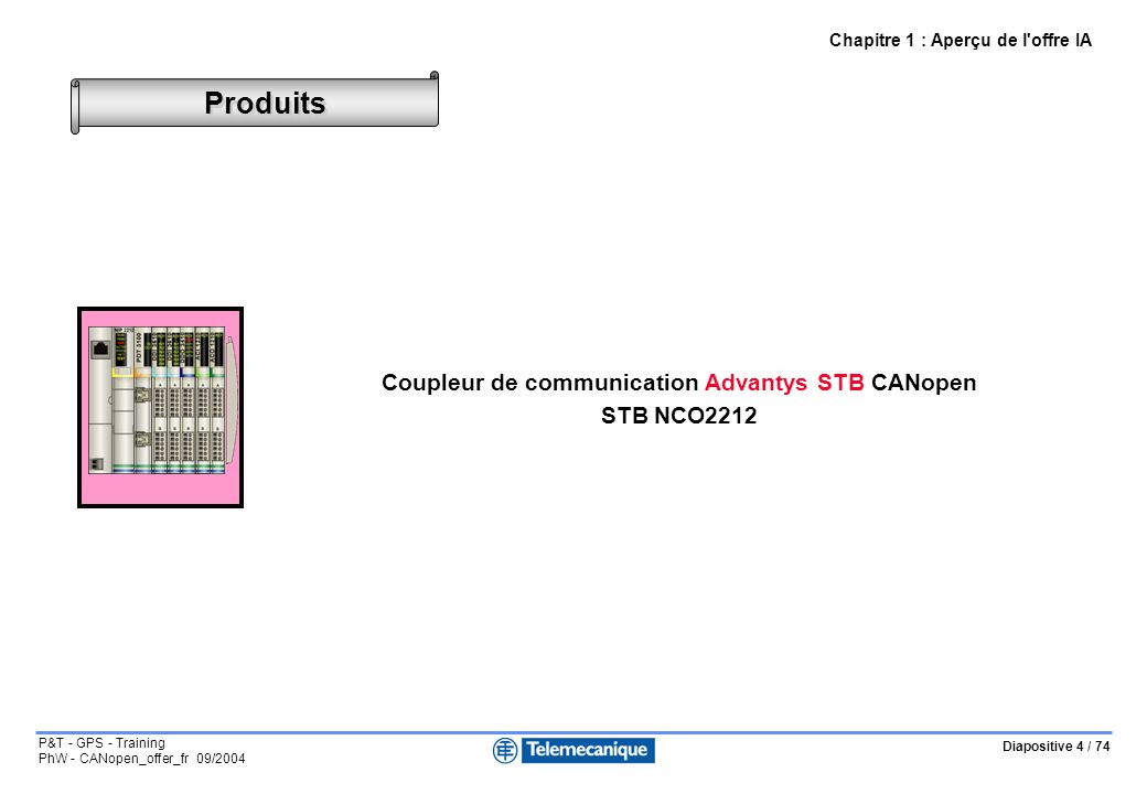 Diapositive 4 / 74 P&T - GPS - Training PhW - CANopen_offer_fr 09/2004 Produits Chapitre 1 : Aperçu de l'offre IA Coupleur de communication Advantys S
