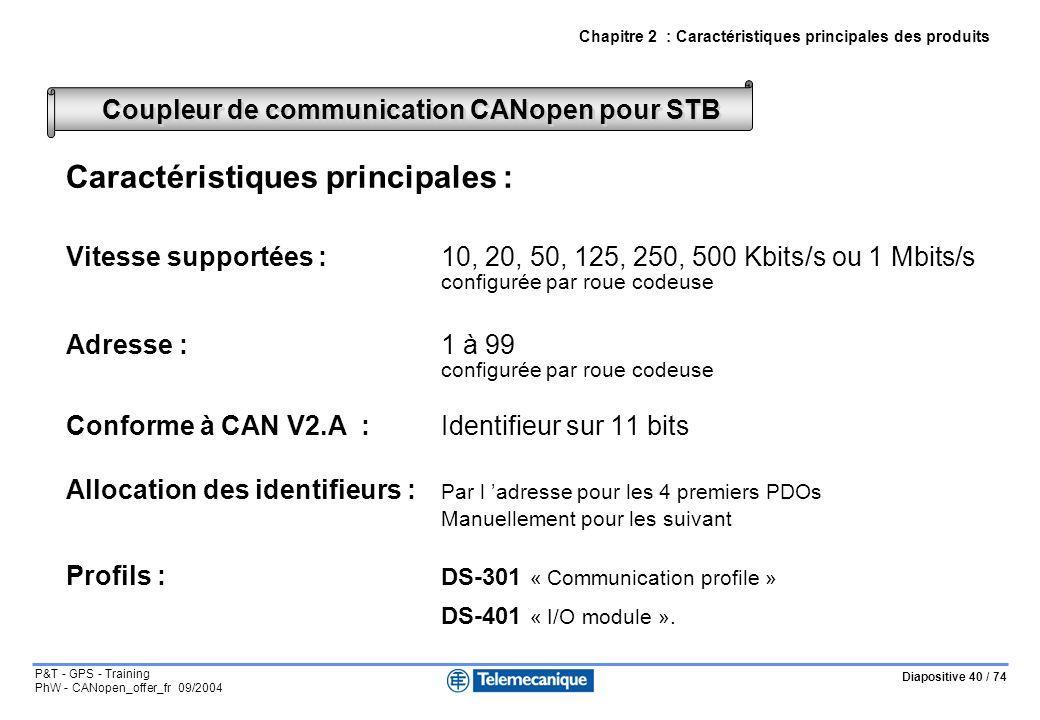 Diapositive 40 / 74 P&T - GPS - Training PhW - CANopen_offer_fr 09/2004 Caractéristiques principales : Vitesse supportées :10, 20, 50, 125, 250, 500 K