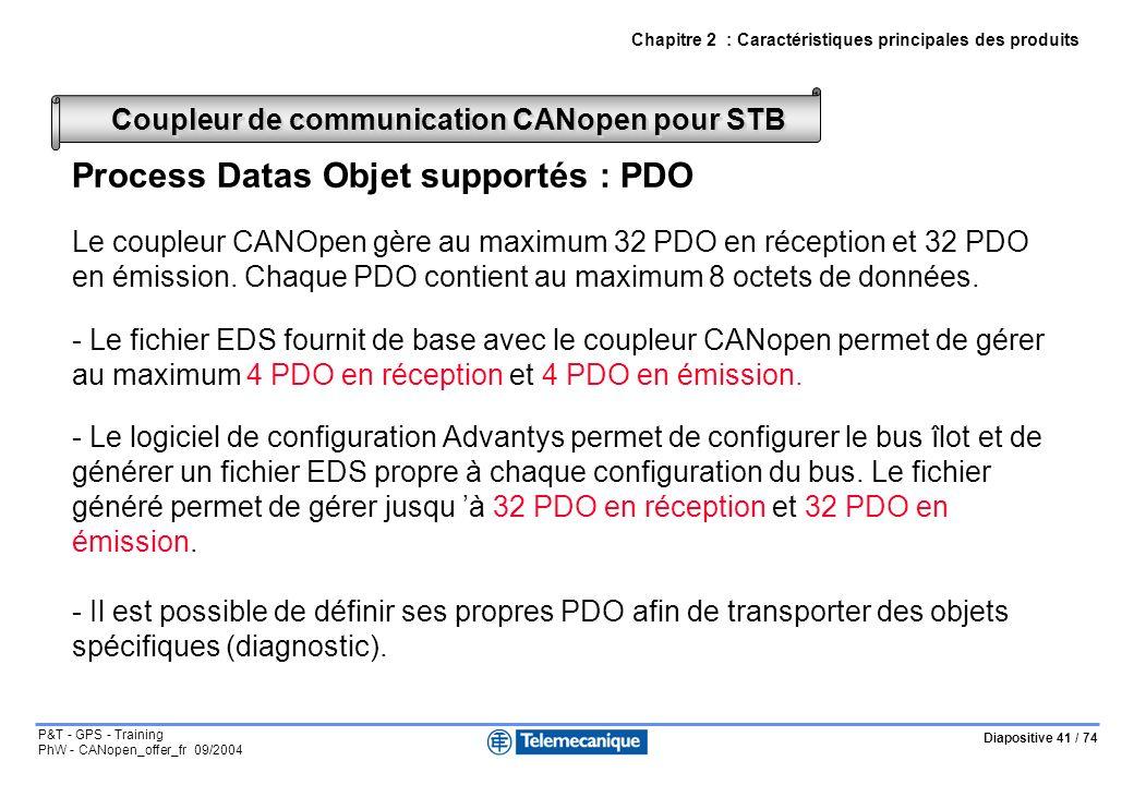 Diapositive 41 / 74 P&T - GPS - Training PhW - CANopen_offer_fr 09/2004 Process Datas Objet supportés : PDO Le coupleur CANOpen gère au maximum 32 PDO en réception et 32 PDO en émission.