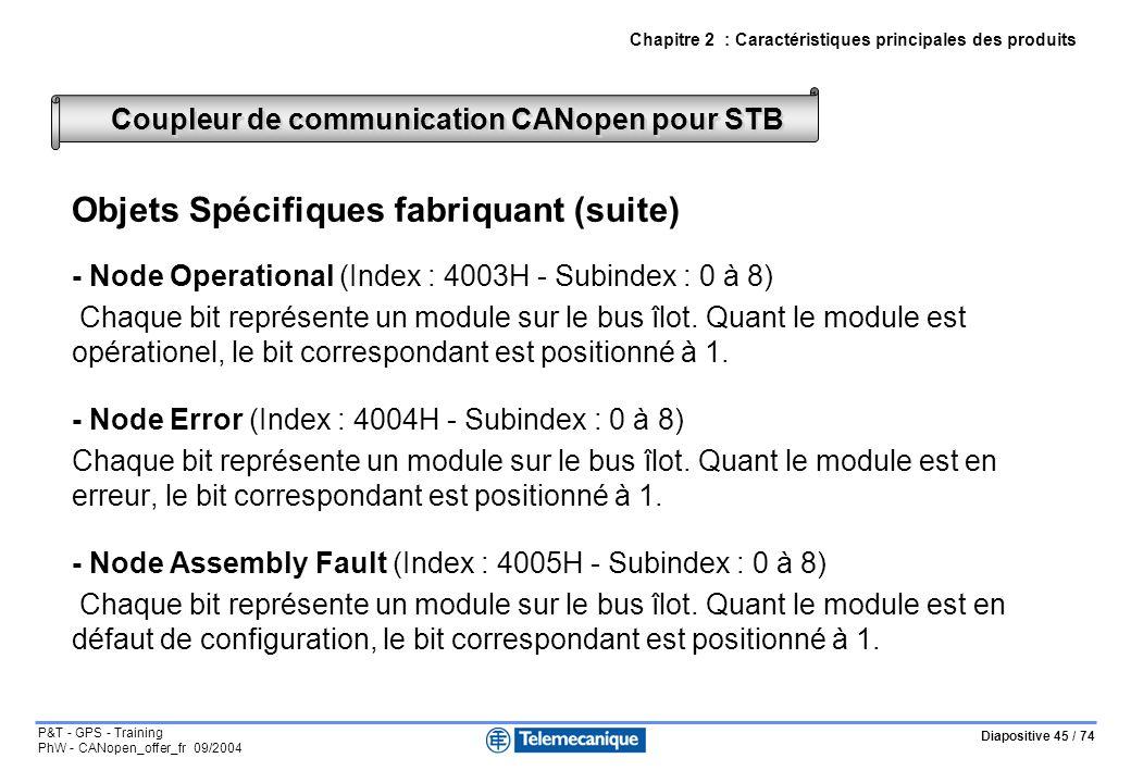 Diapositive 45 / 74 P&T - GPS - Training PhW - CANopen_offer_fr 09/2004 Objets Spécifiques fabriquant (suite) - Node Operational (Index : 4003H - Subindex : 0 à 8) Chaque bit représente un module sur le bus îlot.