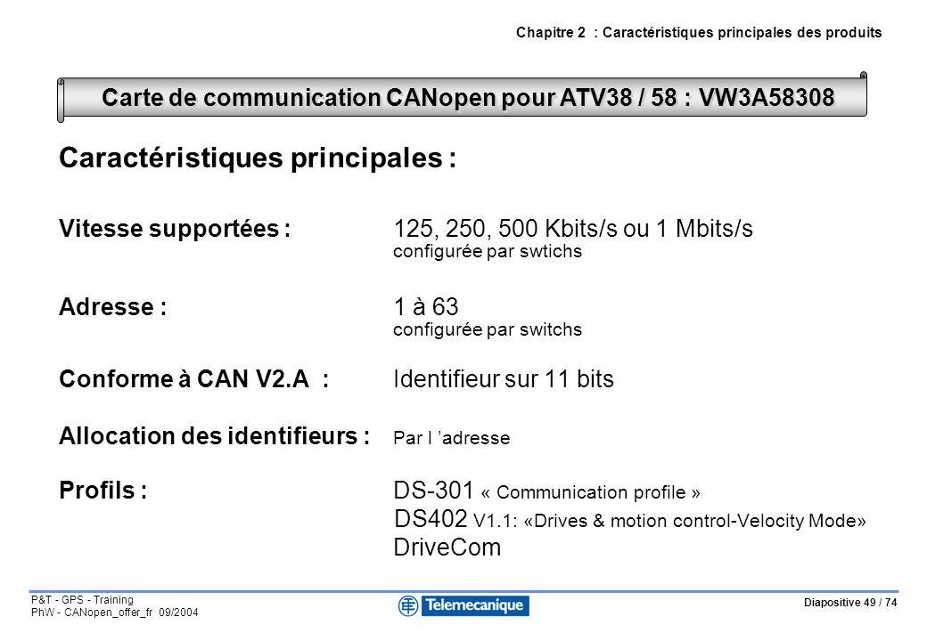 Diapositive 49 / 74 P&T - GPS - Training PhW - CANopen_offer_fr 09/2004 Carte de communication CANopen pour ATV38 / 58 : VW3A58308 Chapitre 2 : Caractéristiques principales des produits Caractéristiques principales : Vitesse supportées :125, 250, 500 Kbits/s ou 1 Mbits/s configurée par swtichs Adresse : 1 à 63 configurée par switchs Conforme à CAN V2.A :Identifieur sur 11 bits Allocation des identifieurs : Par l adresse Profils :DS-301 « Communication profile » DS402 V1.1: «Drives & motion control-Velocity Mode» DriveCom