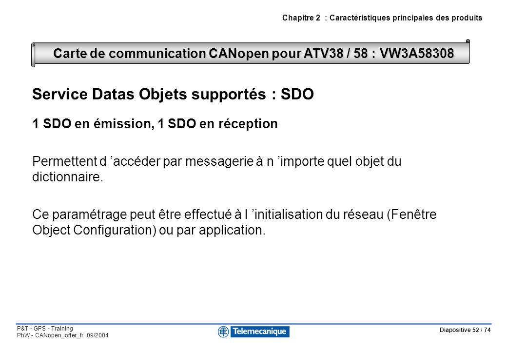 Diapositive 52 / 74 P&T - GPS - Training PhW - CANopen_offer_fr 09/2004 Chapitre 2 : Caractéristiques principales des produits Service Datas Objets supportés : SDO 1 SDO en émission, 1 SDO en réception Permettent d accéder par messagerie à n importe quel objet du dictionnaire.