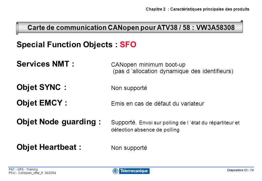 Diapositive 53 / 74 P&T - GPS - Training PhW - CANopen_offer_fr 09/2004 Chapitre 2 : Caractéristiques principales des produits Special Function Objects : SFO Services NMT : CANopen minimum boot-up (pas d allocation dynamique des identifieurs) Objet SYNC : Non supporté Objet EMCY : Emis en cas de défaut du variateur Objet Node guarding : Supporté.