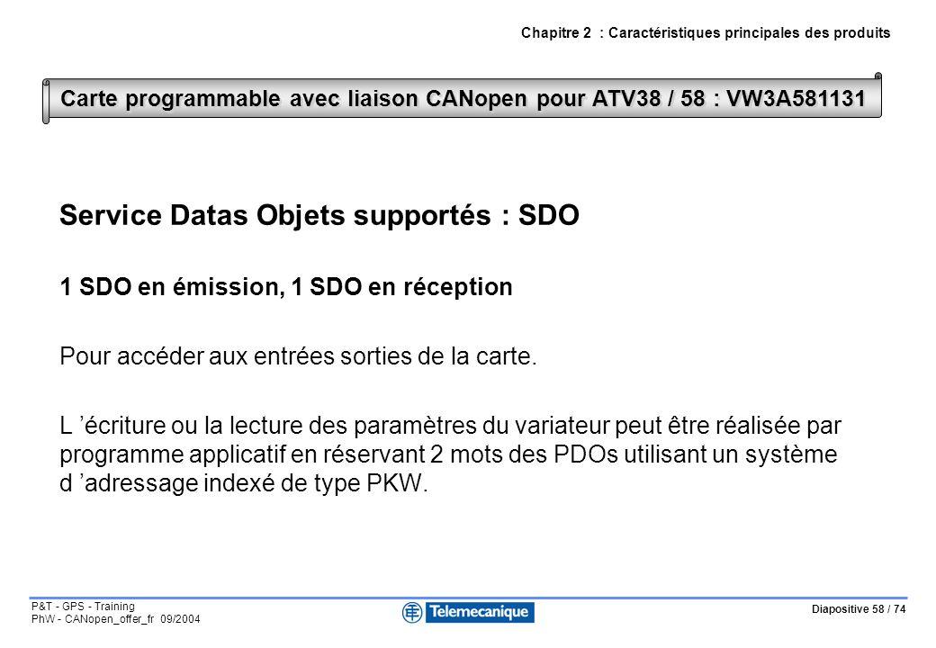 Diapositive 58 / 74 P&T - GPS - Training PhW - CANopen_offer_fr 09/2004 Chapitre 2 : Caractéristiques principales des produits Service Datas Objets supportés : SDO 1 SDO en émission, 1 SDO en réception Pour accéder aux entrées sorties de la carte.