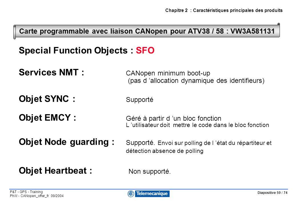 Diapositive 59 / 74 P&T - GPS - Training PhW - CANopen_offer_fr 09/2004 Chapitre 2 : Caractéristiques principales des produits Special Function Objects : SFO Services NMT : CANopen minimum boot-up (pas d allocation dynamique des identifieurs) Objet SYNC : Supporté Objet EMCY : Géré à partir d un bloc fonction L utilisateur doit mettre le code dans le bloc fonction Objet Node guarding : Supporté.