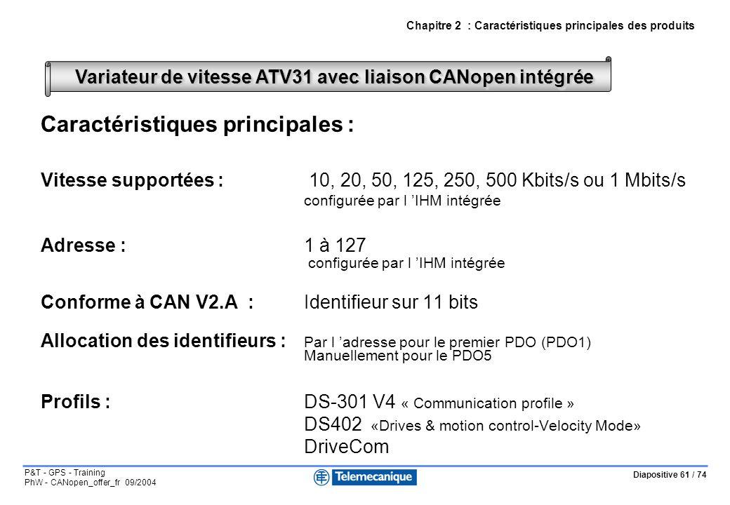 Diapositive 61 / 74 P&T - GPS - Training PhW - CANopen_offer_fr 09/2004 Chapitre 2 : Caractéristiques principales des produits Caractéristiques principales : Vitesse supportées : 10, 20, 50, 125, 250, 500 Kbits/s ou 1 Mbits/s configurée par l IHM intégrée Adresse : 1 à 127 configurée par l IHM intégrée Conforme à CAN V2.A :Identifieur sur 11 bits Allocation des identifieurs : Par l adresse pour le premier PDO (PDO1) Manuellement pour le PDO5 Profils :DS-301 V4 « Communication profile » DS402 «Drives & motion control-Velocity Mode» DriveCom Variateur de vitesse ATV31 avec liaison CANopen intégrée