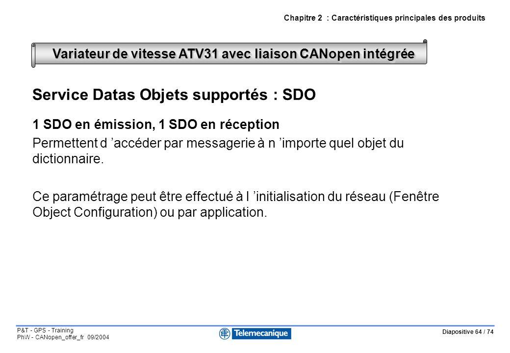 Diapositive 64 / 74 P&T - GPS - Training PhW - CANopen_offer_fr 09/2004 Chapitre 2 : Caractéristiques principales des produits Service Datas Objets supportés : SDO 1 SDO en émission, 1 SDO en réception Permettent d accéder par messagerie à n importe quel objet du dictionnaire.