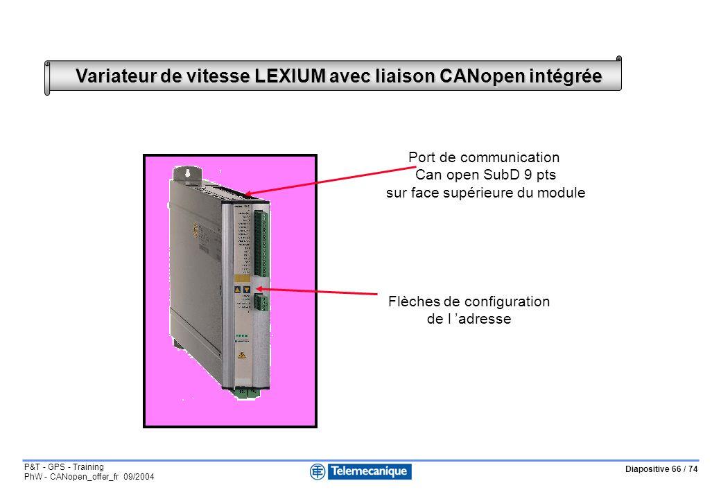 Diapositive 66 / 74 P&T - GPS - Training PhW - CANopen_offer_fr 09/2004 Variateur de vitesse LEXIUM avec liaison CANopen intégrée Flèches de configuration de l adresse Port de communication Can open SubD 9 pts sur face supérieure du module