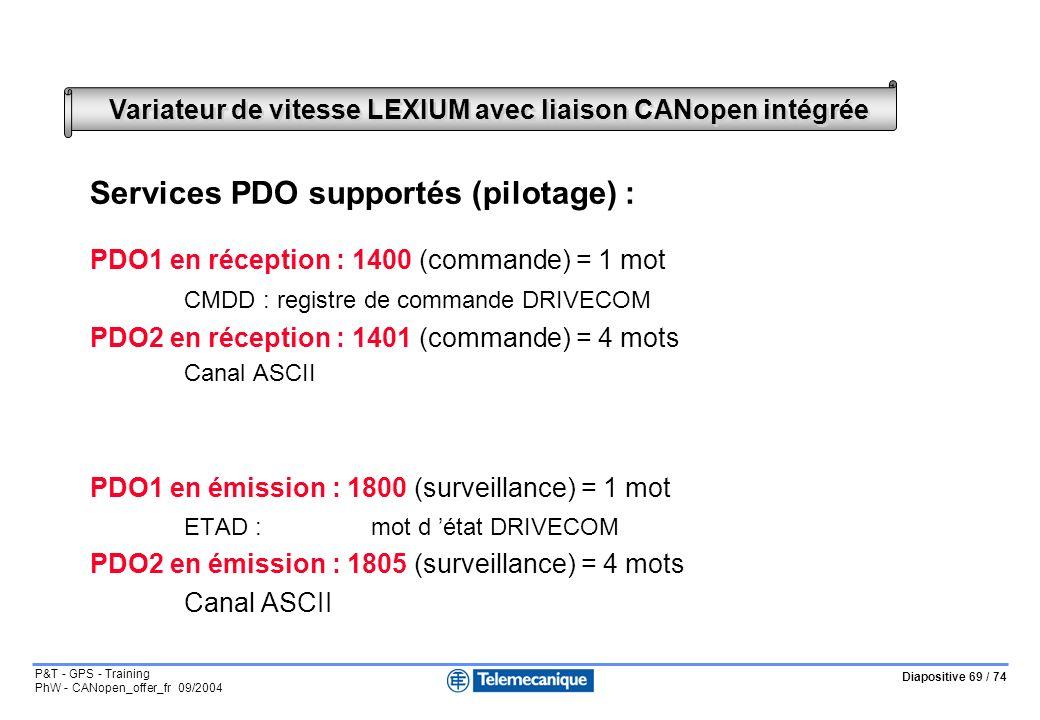 Diapositive 69 / 74 P&T - GPS - Training PhW - CANopen_offer_fr 09/2004 Variateur de vitesse LEXIUM avec liaison CANopen intégrée Services PDO supportés (pilotage) : PDO1 en réception : 1400 (commande) = 1 mot CMDD :registre de commande DRIVECOM PDO2 en réception : 1401 (commande) = 4 mots Canal ASCII PDO1 en émission : 1800 (surveillance) = 1 mot ETAD :mot d état DRIVECOM PDO2 en émission : 1805 (surveillance) = 4 mots Canal ASCII