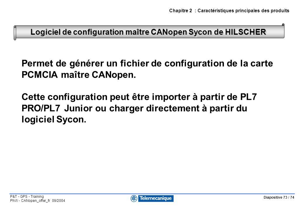 Diapositive 73 / 74 P&T - GPS - Training PhW - CANopen_offer_fr 09/2004 Permet de générer un fichier de configuration de la carte PCMCIA maître CANopen.