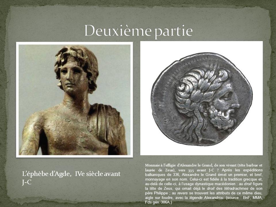 Monnaie à leffigie dAlexandre le Grand, de son vivant (tête barbue et laurée de Zeus), vers 335 avant J-C .