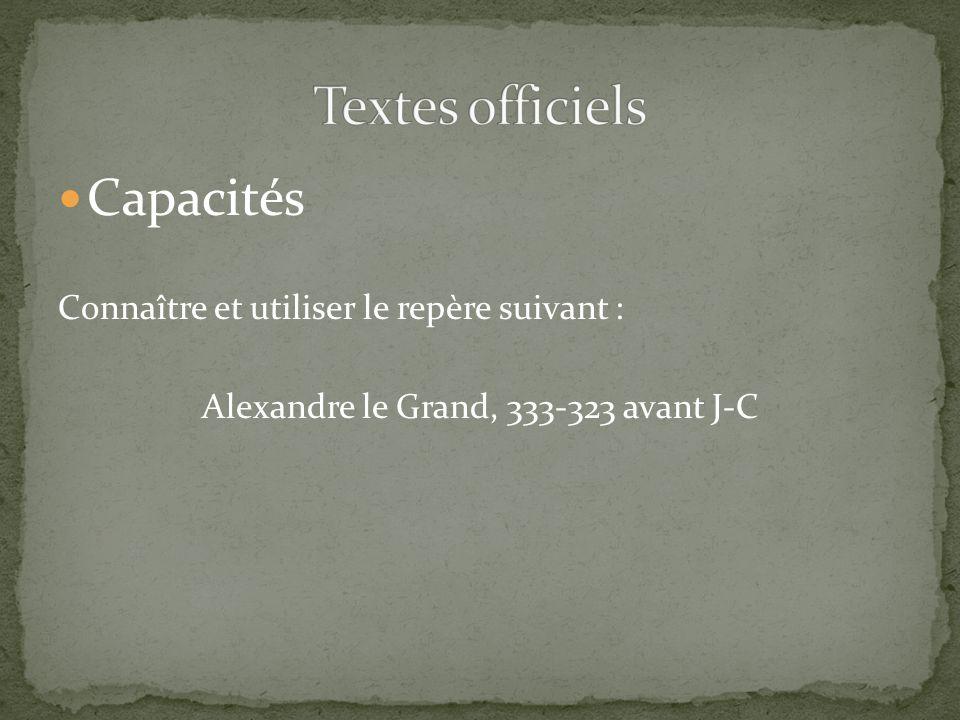 Capacités Connaître et utiliser le repère suivant : Alexandre le Grand, 333-323 avant J-C