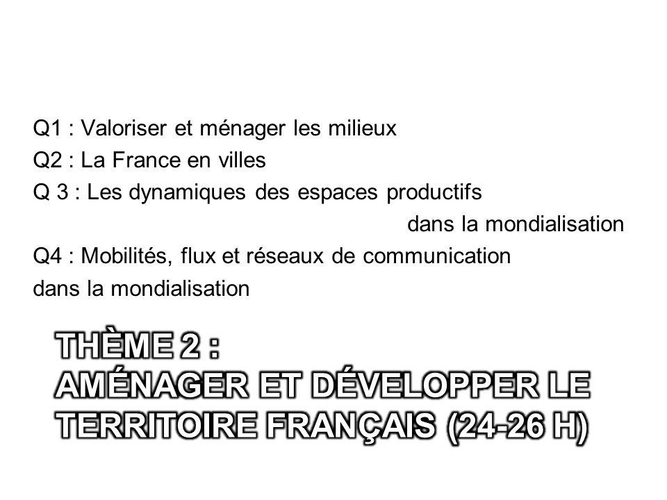 Q1 : Valoriser et ménager les milieux Q2 : La France en villes Q 3 : Les dynamiques des espaces productifs dans la mondialisation Q4 : Mobilités, flux et réseaux de communication dans la mondialisation