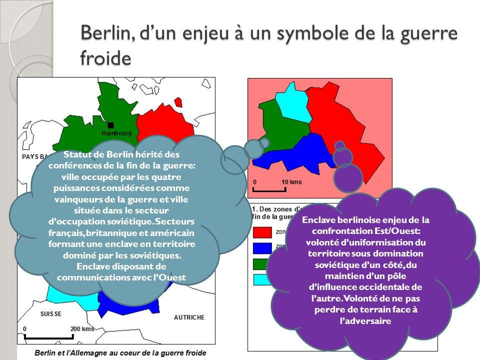 Berlin, dun enjeu à un symbole de la guerre froide Statut de Berlin hérité des conférences de la fin de la guerre: ville occupée par les quatre puissa