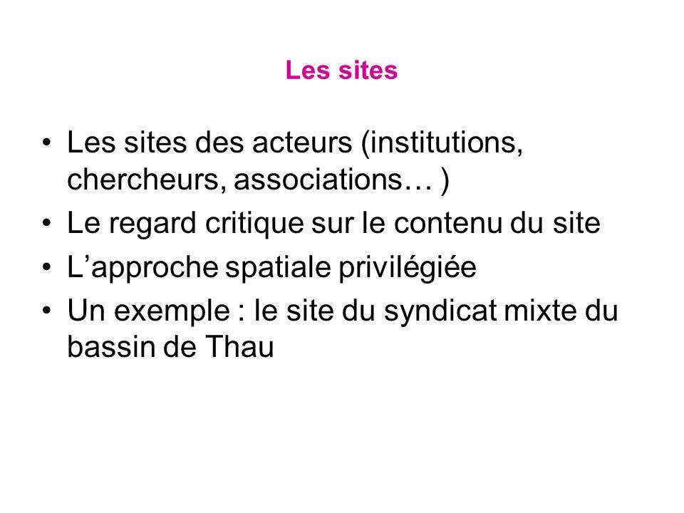 Les sites Les sites des acteurs (institutions, chercheurs, associations… ) Le regard critique sur le contenu du site Lapproche spatiale privilégiée Un exemple : le site du syndicat mixte du bassin de Thau
