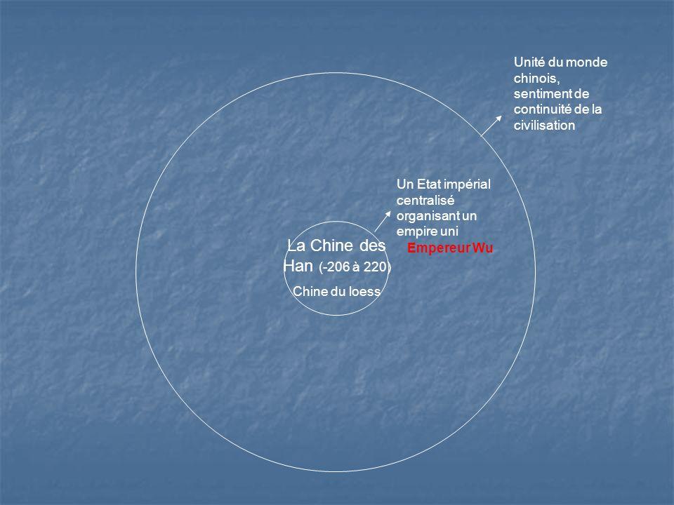 La Chine des Han (-206 à 220) Chine du loess Un Etat impérial centralisé organisant un empire uni Unité du monde chinois, sentiment de continuité de la civilisation Empereur Wu