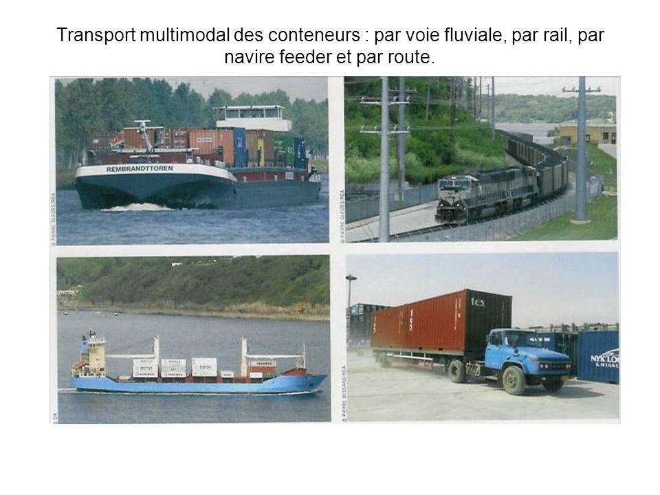 Transport multimodal des conteneurs : par voie fluviale, par rail, par navire feeder et par route.