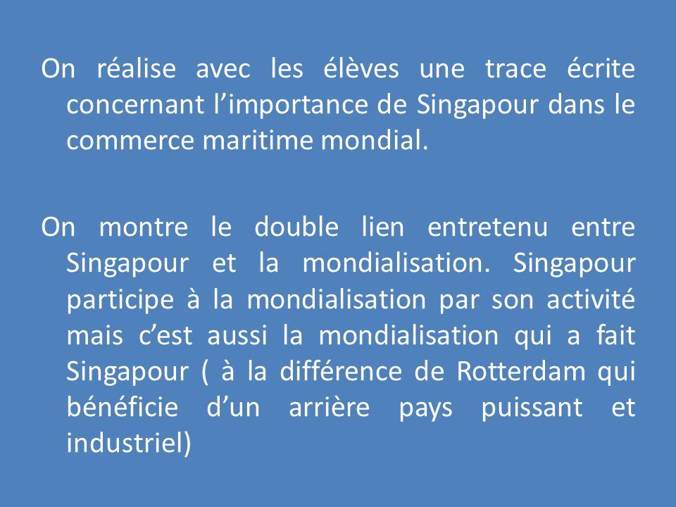 On réalise avec les élèves une trace écrite concernant limportance de Singapour dans le commerce maritime mondial. On montre le double lien entretenu