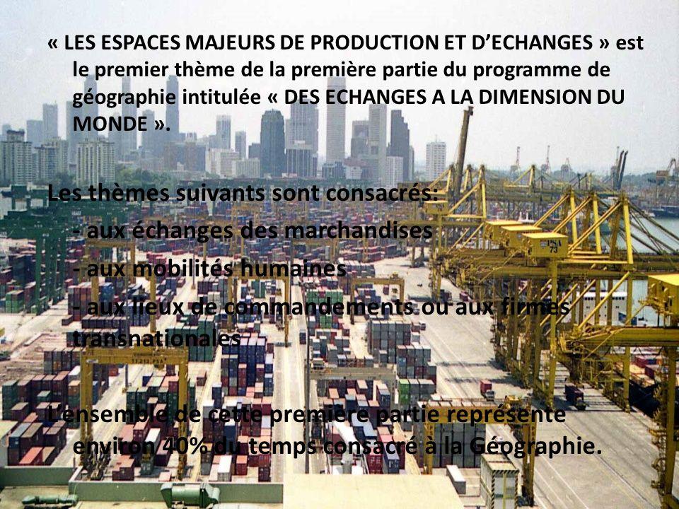 « LES ESPACES MAJEURS DE PRODUCTION ET DECHANGES » est le premier thème de la première partie du programme de géographie intitulée « DES ECHANGES A LA