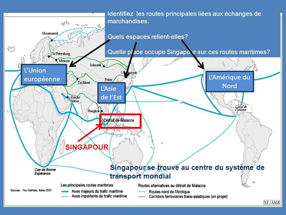 Identifiez les routes principales liées aux échanges de marchandises. Quels espaces relient-elles? Quelle place occupe Singapour sur ces routes mariti