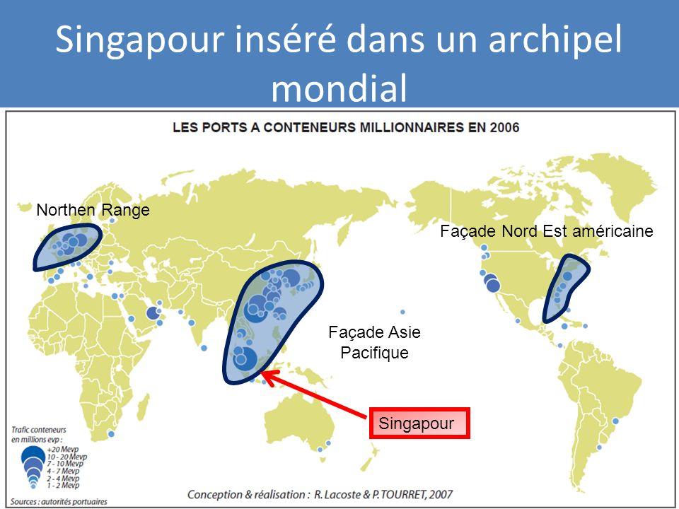 Singapour Singapour inséré dans un archipel mondial Façade Nord Est américaine Northen Range Façade Asie Pacifique