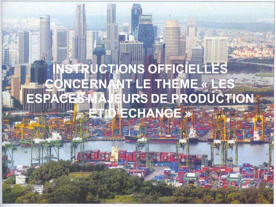 INSTRUCTIONS OFFICIELLES CONCERNANT LE THEME « LES ESPACES MAJEURS DE PRODUCTION ET DECHANGE »
