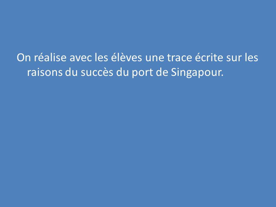On réalise avec les élèves une trace écrite sur les raisons du succès du port de Singapour.