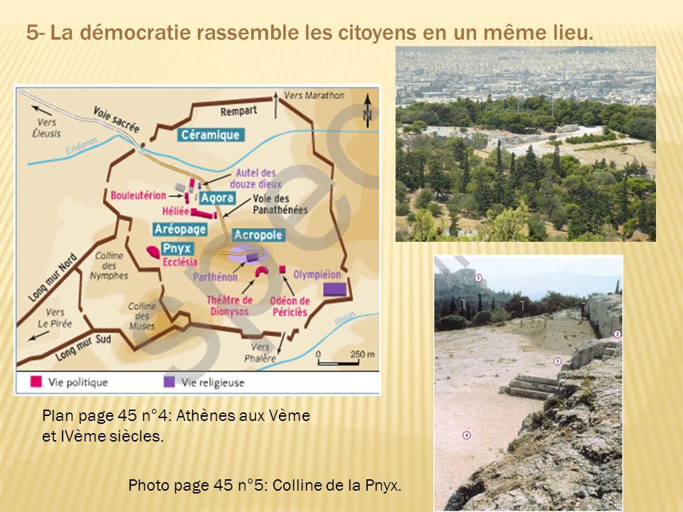 Plan page 45 n°4: Athènes aux Vème et IVème siècles. Photo page 45 n°5: Colline de la Pnyx. 5- La démocratie rassemble les citoyens en un même lieu.