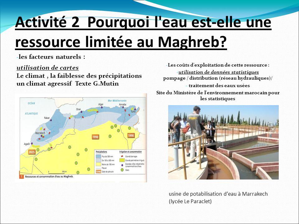 Activité 2 Pourquoi l eau est-elle une ressource limitée au Maghreb.