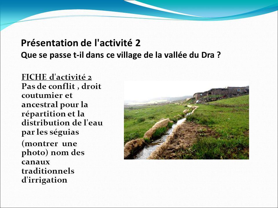 Présentation de l activité 2 Que se passe t-il dans ce village de la vallée du Dra .