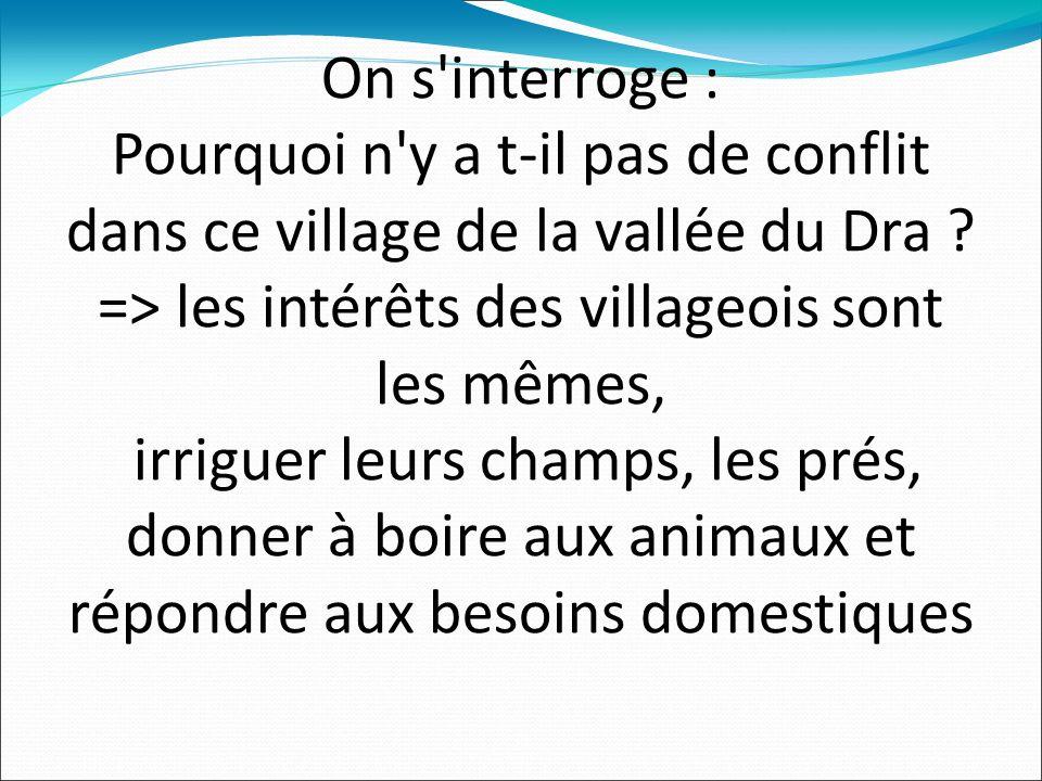 On s interroge : Pourquoi n y a t-il pas de conflit dans ce village de la vallée du Dra .