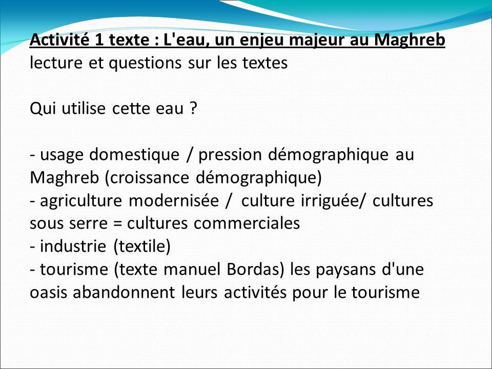 Activité 1 texte : L eau, un enjeu majeur au Maghreb lecture et questions sur les textes Qui utilise cette eau .