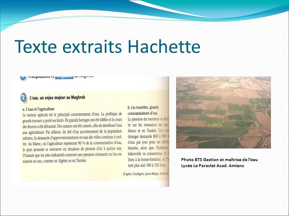 Texte extraits Hachette Photo BTS Gestion et maîtrise de leau Lycée Le Paraclet Acad. Amiens