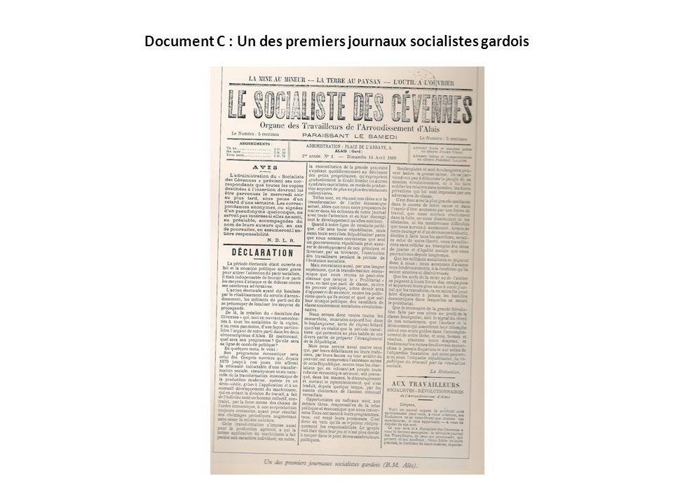 Document C : Un des premiers journaux socialistes gardois