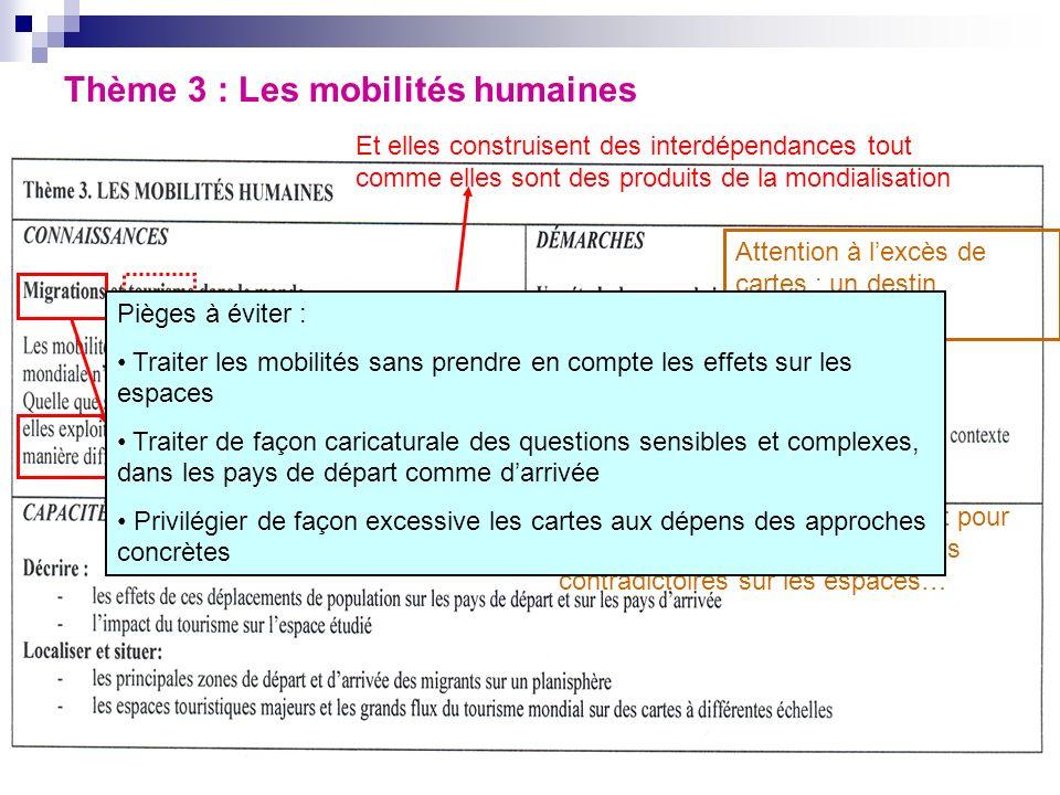 Thème 3 : Les mobilités humaines Et elles construisent des interdépendances tout comme elles sont des produits de la mondialisation Attention à lexcès de cartes ; un destin individuel .