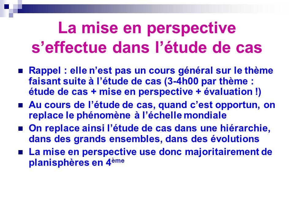 La mise en perspective seffectue dans létude de cas Rappel : elle nest pas un cours général sur le thème faisant suite à létude de cas (3-4h00 par thè