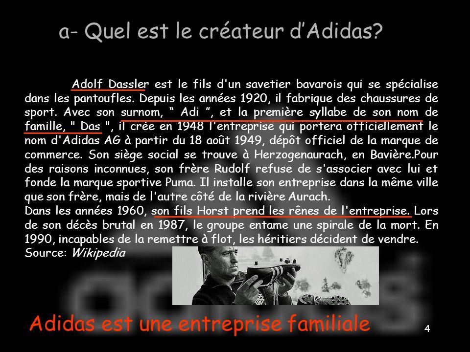 3 I- Adidas, une firme transnationale ADIDAS des origines à aujourdhui a- Quel est le créateur dAdidas? b- Quand lentreprise a-t-elle été créée? c- Qu
