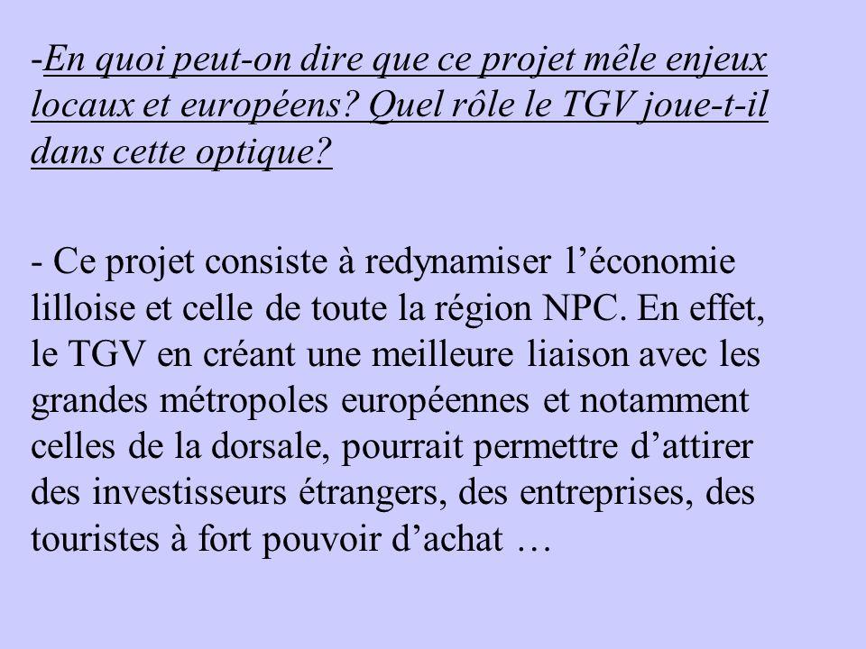 -En quoi peut-on dire que ce projet mêle enjeux locaux et européens? Quel rôle le TGV joue-t-il dans cette optique? - Ce projet consiste à redynamiser