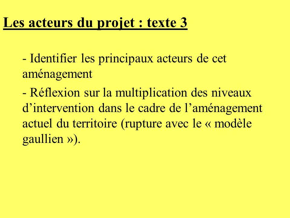 Les acteurs du projet : texte 3 - Identifier les principaux acteurs de cet aménagement - Réflexion sur la multiplication des niveaux dintervention dan