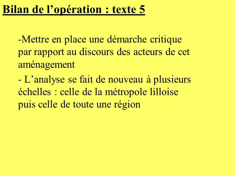 Bilan de lopération : texte 5 -Mettre en place une démarche critique par rapport au discours des acteurs de cet aménagement - Lanalyse se fait de nouv