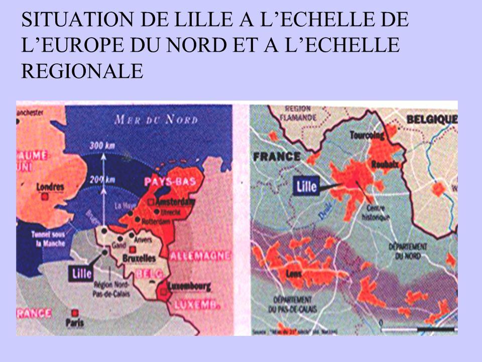 SITUATION DE LILLE A LECHELLE DE LEUROPE DU NORD ET A LECHELLE REGIONALE